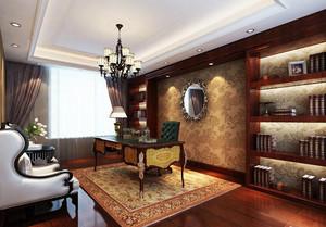 沉稳大气的美式书房设计装修效果图鉴赏