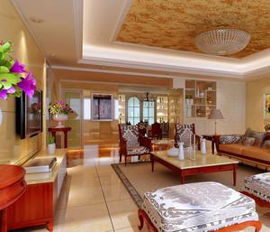 90平米奢华高贵的欧式客厅装修效果图