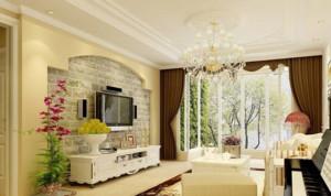 90平米欧式田园风格客厅电视背景墙