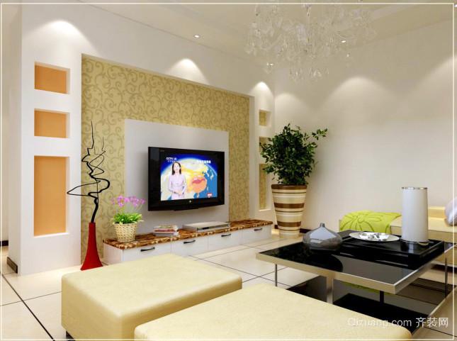 2015单身公寓现代简约电视背景墙装修效果图