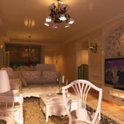 客厅电视背景墙装修吊灯图