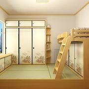 儿童卧室双层床装修背景墙图