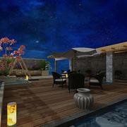 阳台花园设计夜色图