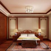中式卧室吊顶装修背景墙图