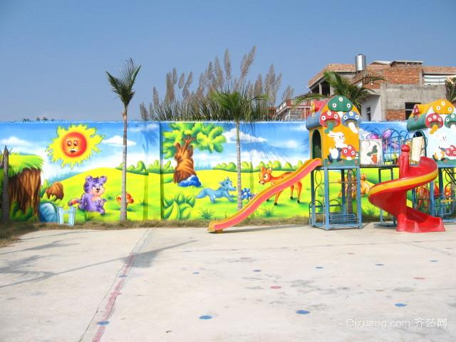 散发着欢乐的幼儿园壁画图片