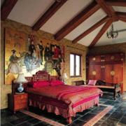 中式卧室吊顶装修地板图