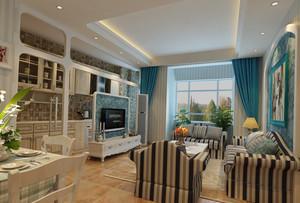 100㎡地中海村客厅电视背景墙装修效果图欣赏
