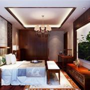 中式卧室吊顶装修床铺图