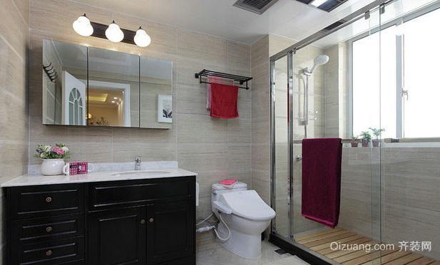 单身公寓玻璃隔断高档洗手间装修效果图