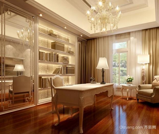 唯美简欧三室两厅两卫书房吊顶装修效果图