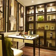 东南亚风格书房装修桌椅图