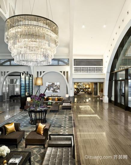 高级奢华商务酒店大厅吊顶装修效果图