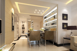 2015豪华型都市大户欧式餐厅装修效果图