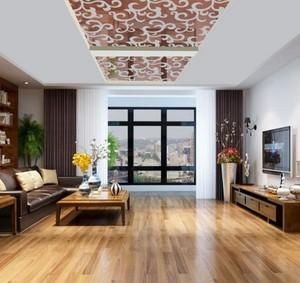 三室两厅两卫欧式家庭客厅玻璃吊顶装修效果图