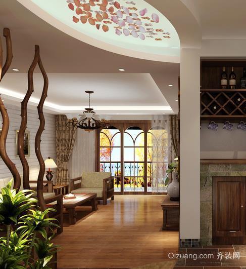 时尚家庭走廊过道玻璃吊顶装修效果图
