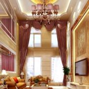 复式楼客厅装修窗帘图