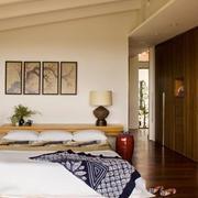 卧室榻榻米床装修壁纸图