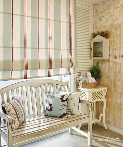 90平米小清新单身公寓客厅卷帘窗帘装修效果图
