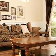 创意实木茶几沙发背景墙