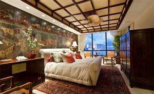 大型现代中式吊顶卧室装修效果图