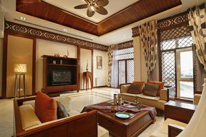 120㎡中式风格客厅电视背景墙装修效果图欣赏