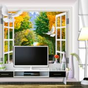 客厅电视背景墙装修飘窗图