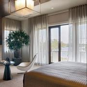 别墅窗帘装修卧室图
