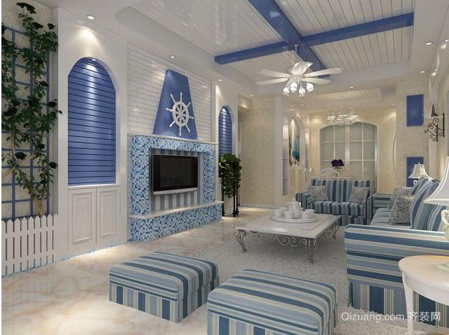 地中海风格90平方米房屋装修效果图大全