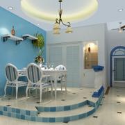 地中海风格餐厅装修桌椅图