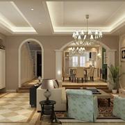 地中海风格客厅吊顶色调搭配