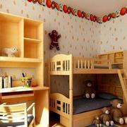儿童房高低双层床装修背景墙图