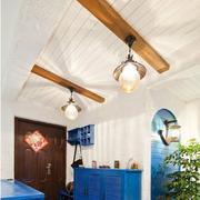 地中海风格客厅实木吊顶