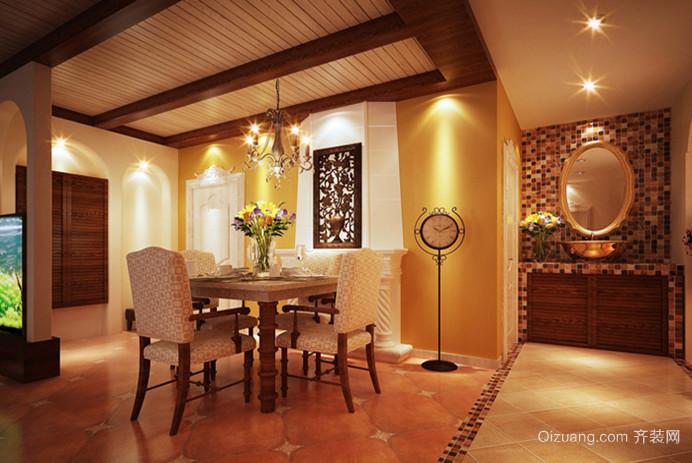 热情似火的东南亚风格餐厅背景墙设计装修效果图