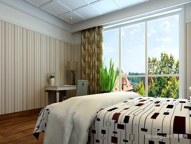 现代三室两厅两卫大卧室壁纸装修效果图
