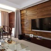 实木客厅电视背景墙设计
