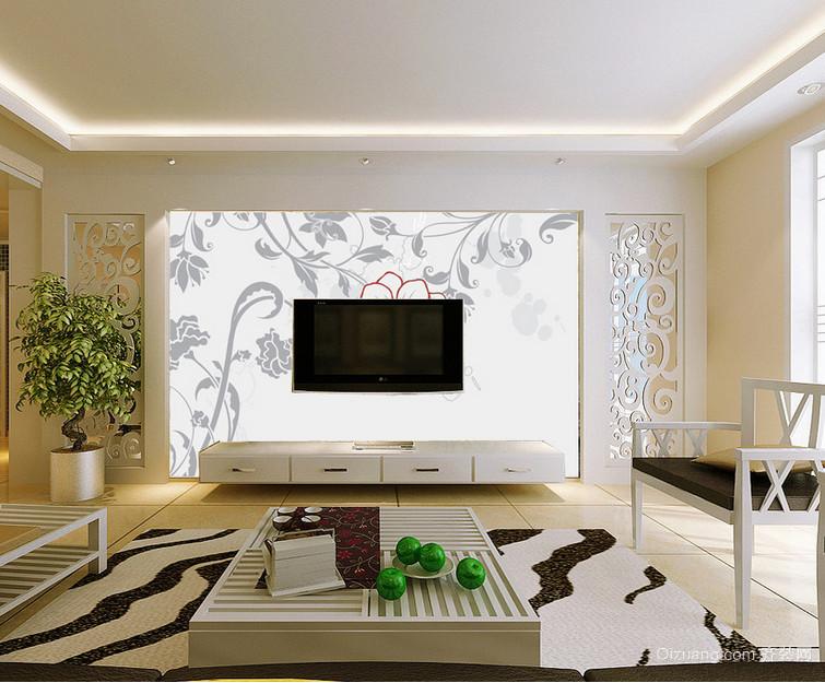 唯美典雅的别墅型现代电视背景墙装修效果图