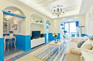 跃层地中海风格客厅背景墙效果图