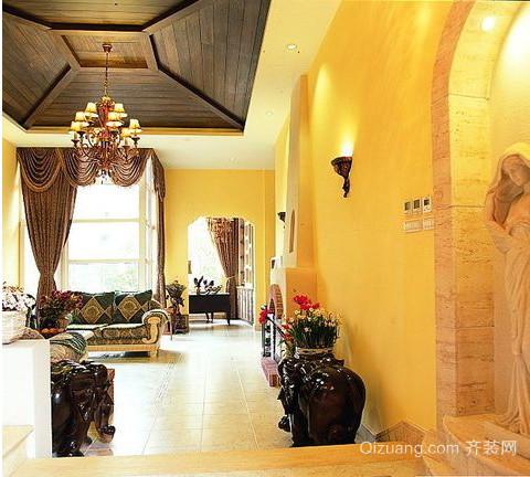 浪漫优雅的地中海客厅吊顶装修效果图