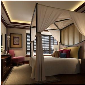 唯美地中海卧室窗帘装修效果图
