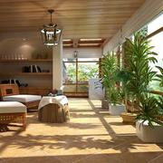 美式阳光房装修桌椅图