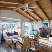 北欧风格客厅实木吊顶