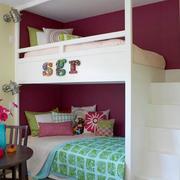 儿童房高低双层床装修整体图