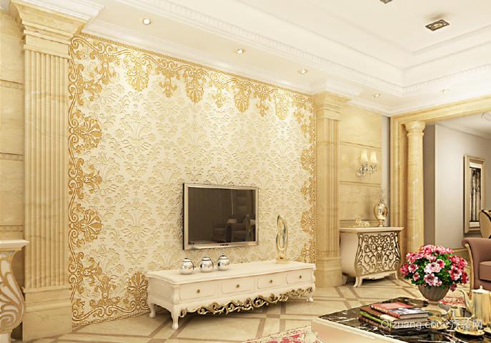 2015奢华时尚欧式罗马柱电视背景墙装修 效果 图