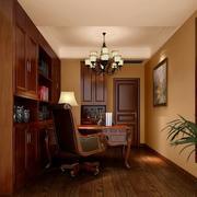 暖色美式风格书房装修图