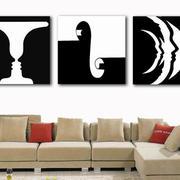 黑白相间的客厅沙发背景墙