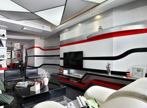 大户型现代欧式交换空间客厅电视墙装修效果图