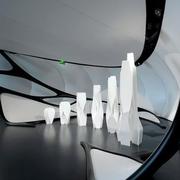 冷色调小户型展厅装修效果图