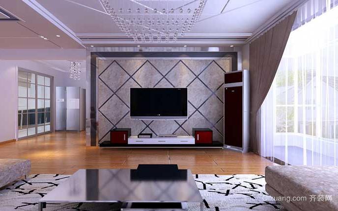 简欧风格电视背景墙设计装修图