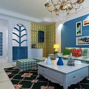 经典蓝色地中海风格客厅