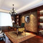 美式风格书房装修背景墙图